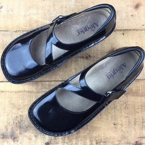 Alegria black leather Mary Jane comfort shoes 10